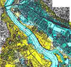 MapInfo generated flood inundation zones using 3D data.