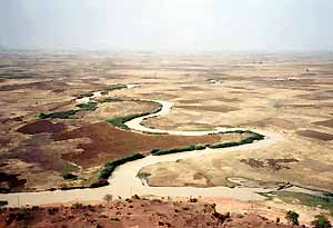 Aerial view of the Sokoto River and zones of fadama